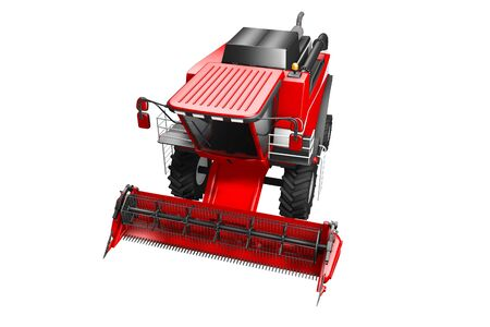 huge modern red wheat agricultural combine harvester top view isolated on white - industrial 3D illustration Archivio Fotografico - 130119859