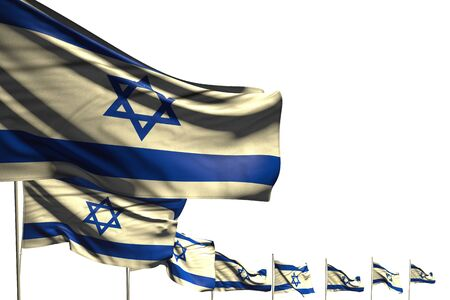 pretty many Israel flags placed diagonal isolated on white with space for content - any celebration flag 3d illustration Banco de Imagens