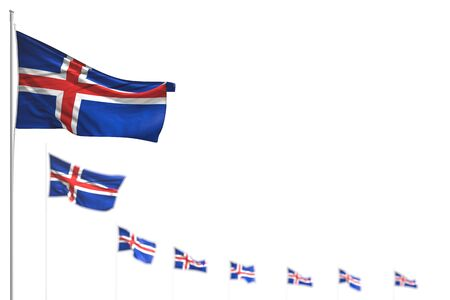 nice memorial day flag 3d illustration  - Iceland isolated flags placed diagonal, image with bokeh and place for text