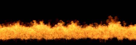 melting fireplace on black background, fire line at bottom - fire 3D illustration Stock fotó - 130119868