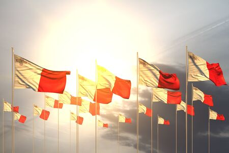 beautiful many Malta flags in a row on sunset with free place for your content - any feast flag 3d illustration Banco de Imagens