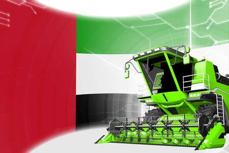 Digital industrial 3D illustration of green advanced grain combine harvester on United Arab Emirates flag - agriculture equipment innovation concept Archivio Fotografico - 130119876