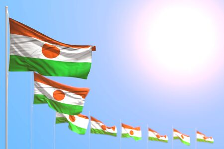 cute labor day flag 3d illustration  - many Niger flags placed diagonal with selective focus and free place for your content