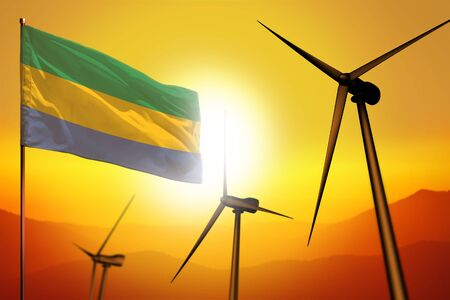 Gabon wind energy, alternative energy environment concept with turbines and flag on sunset - alternative renewable energy - industrial illustration, 3D illustration Фото со стока