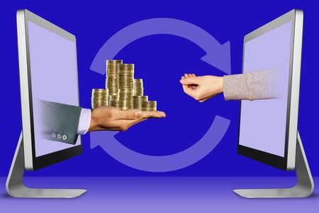 modern concept, hands from computers. pile of coins and pleading gesture . 3d illustration