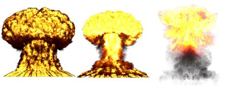 3 big highly detailed different phases mushroom cloud explosion of hydrogen bomb with smoke and fire isolated on white - 3D illustration of explosion