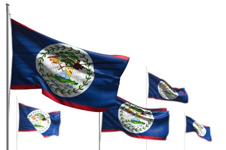 beautiful celebration flag 3d illustration - five flags of Belize are wave isolated on white - picture with bokeh Stock Photo
