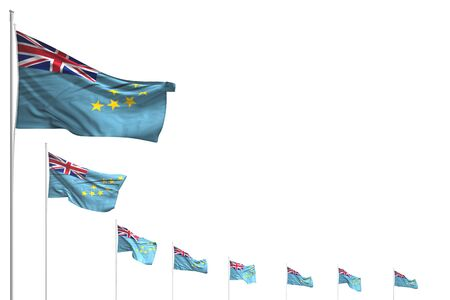 pretty anthem day flag 3d illustration  - many Tuvalu flags placed diagonal isolated on white with place for your content