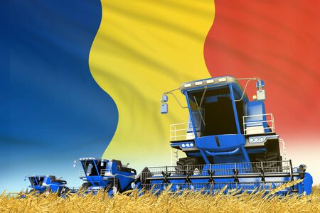 blue rural agricultural combine harvester on field with Romania flag background, food industry concept - industrial 3D illustration