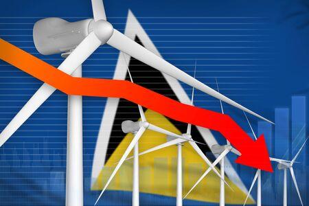 Saint Lucia wind energy power lowering chart, arrow down  - alternative energy industrial illustration. 3D Illustration Stok Fotoğraf
