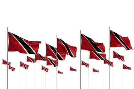 nice anthem day flag 3d illustration  - Trinidad and Tobago isolated flags placed in row with bokeh and place for content