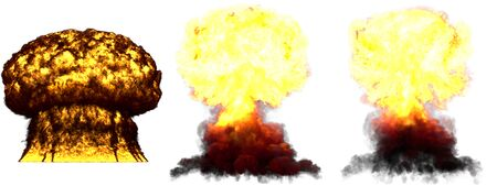3 big high detailed different phases mushroom cloud explosion of super bomb with smoke and fire isolated on white - 3D illustration of explosion Banque d'images