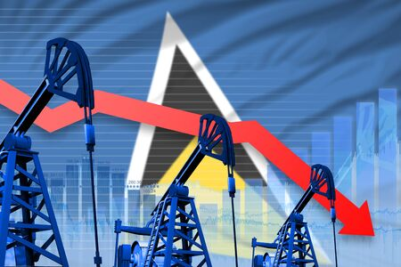 Saint Lucia oil industry concept, industrial illustration - lowering, falling graph on Saint Lucia flag background. 3D Illustration Stok Fotoğraf