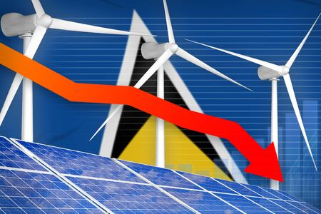 Saint Lucia solar and wind energy lowering chart, arrow down  - green energy industrial illustration. 3D Illustration Stok Fotoğraf