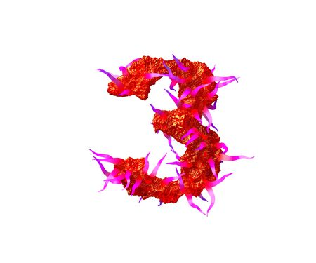 number 3 of scary cosmic font - red alien flesh with pink tentacles isolated on white background, 3D illustration of symbols Standard-Bild - 127772403