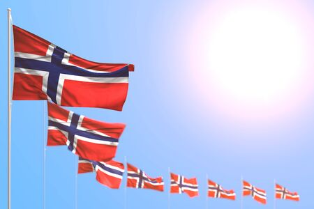 nice celebration flag 3d illustration - many Norway flags placed diagonal with bokeh and empty place for text
