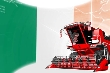 Digital industrial 3D illustration of red advanced grain combine harvester on Ireland flag - agriculture equipment innovation concept Stock fotó