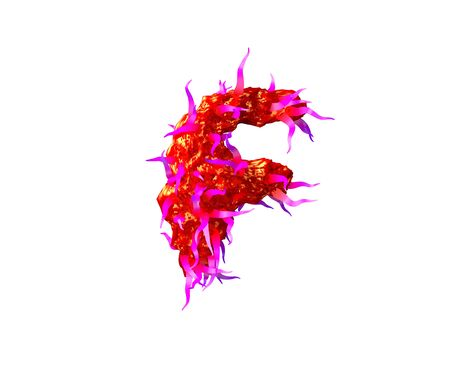 Red creepy jelly with pink tentacles isolated on white background - letter F of creepy monstrous font, 3D illustration of symbols Standard-Bild - 127772862