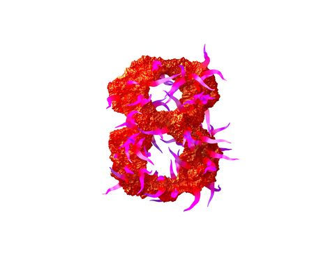 Red terrible jelly with pink tentacles isolated on white background - number 8 of terrible space alphabet, 3D illustration of symbols Standard-Bild - 127772868