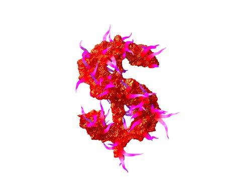 dollar - peso sign of scary monstrous font - red slime with pink tentacles isolated on white background, 3D illustration of symbols