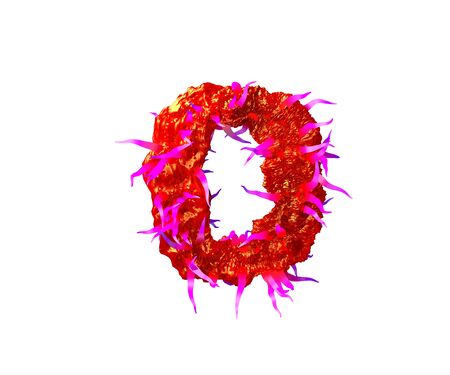 letter D of terrible monstrous font - red alien flesh with purple tentacles isolated on white background, 3D illustration of symbols Standard-Bild - 127772964