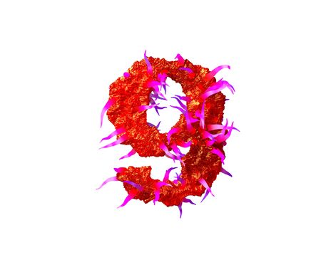 Red creepy alien flesh with pink tentacles isolated on white background - number 9 of creepy space font, 3D illustration of symbols Standard-Bild - 127772967
