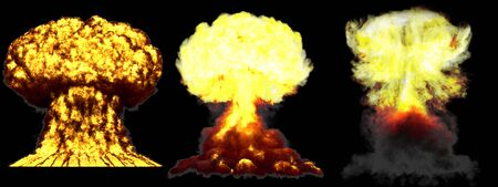 3 huge very detailed different phases mushroom cloud explosion of thermonuclear bomb with smoke and fire isolated on black - 3D illustration of explosion