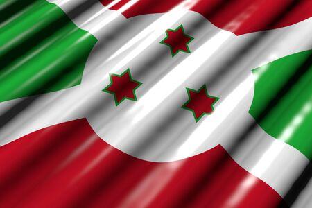 cute shining - looks like plastic flag of Burundi with large folds lay diagonal - any occasion flag 3d illustration