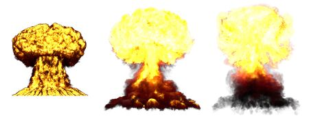 3 large very high detailed different phases mushroom cloud explosion of hydrogen bomb with smoke and fire isolated on white - 3D illustration of explosion