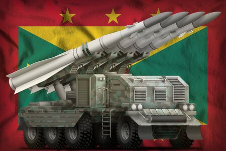 tactical short range ballistic missile with arctic camouflage on the Grenada flag background. 3d Illustration Banco de Imagens