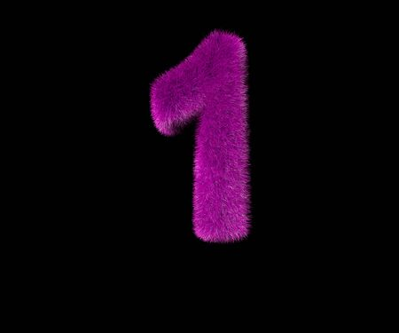 number 1 of ludicrous stylish purple fur alphabet isolated on black, ludicrous concept 3D illustration of symbols 스톡 콘텐츠