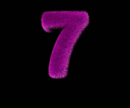 comical glamorous pink hairy font isolated on black - number 7, glamorous concept 3D illustration of symbols