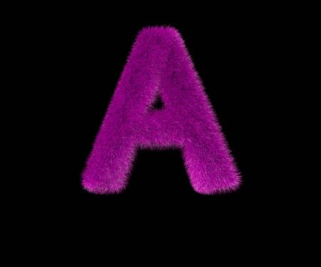 letter A of dear fashion purple wooly alphabet isolated on black, dear concept 3D illustration of symbols