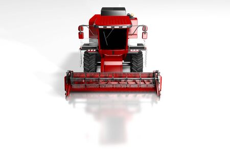 large cg red farm agricultural combine harvester front top view with reflection on white, mockup with place for content - industrial 3D illustration