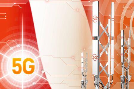Peru 5G network industrial illustration, huge cellular tower or mast on hi-tech background with the flag - 3D Illustration