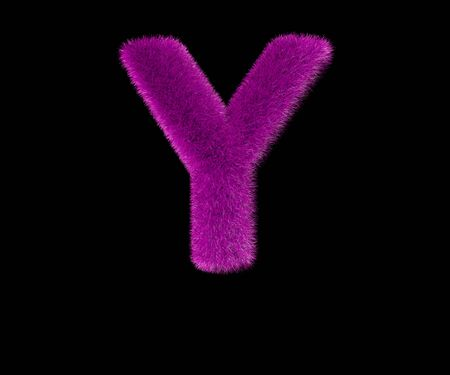letter Y of lovely stylish pink fur font isolated on black, lovely concept 3D illustration of symbols