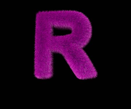 ridiculous fashion purple furry alphabet isolated on black - letter R, fashion concept 3D illustration of symbols