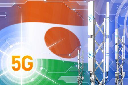 Niger 5G network industrial illustration, huge cellular tower or mast on hi-tech background with the flag - 3D Illustration Stock Photo
