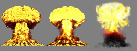 3 big very high detailed different phases mushroom cloud explosion of nuclear bomb with smoke and fire isolated on grey - 3D illustration of explosion