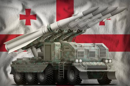 tactical short range ballistic missile with arctic camouflage on the Georgia flag background. 3d Illustration