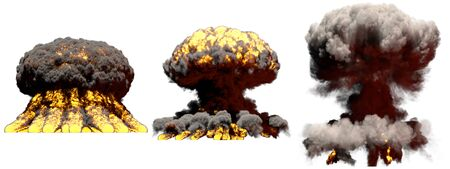 3 large different phases fire mushroom cloud explosion of fusion bomb with smoke and flames isolated on white - 3D illustration of explosion