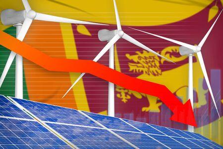 Sri Lanka solar and wind energy lowering chart, arrow down  - modern energy industrial illustration. 3D Illustration