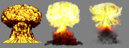 3 large very detailed different phases mushroom cloud explosion of thermonuclear bomb with smoke and fire isolated on grey - 3D illustration of explosion