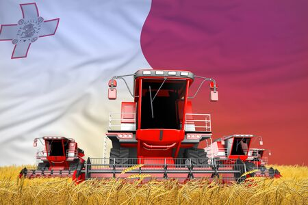 industrial 3D illustration of 4 bright red combine harvesters on rural field with flag background, Malta agriculture concept