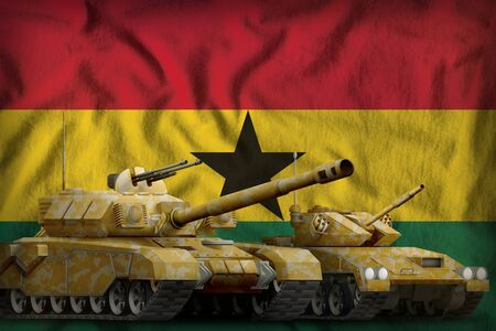 tanks with orange camouflage on the Ghana flag background. Ghana tank forces concept. 3d Illustration 스톡 콘텐츠