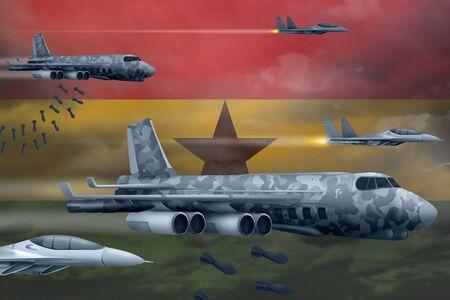 Ghana bomb air strike concept. Modern Ghana war airplanes bombing on flag background. 3d Illustration