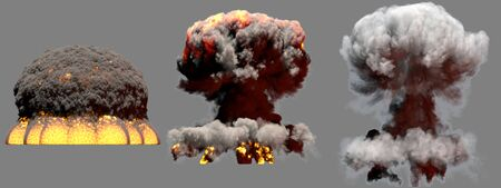 3 big different phases fire mushroom cloud explosion of nuke bomb with smoke and flames isolated on grey background - 3D illustration of explosion Stock Photo
