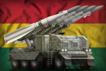 tactical short range ballistic missile with arctic camouflage on the Ghana flag background. 3d Illustration Banco de Imagens