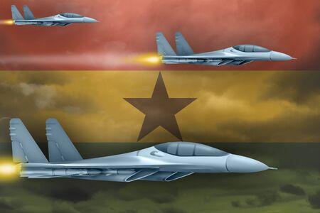 Ghana air strike concept. Modern war airplanes attack on Ghana flag background. 3d Illustration