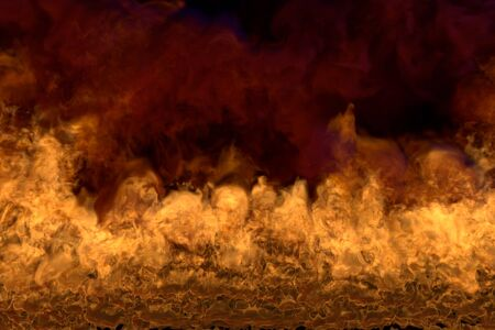 Flame from image bottom corners - fire 3D illustration of gothic glowing fire, sylized frame with heavy smoke isolated on black